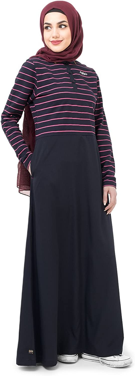 Silk Route Jersey And Crepe Striper Navy Maxi Dress Jilbab