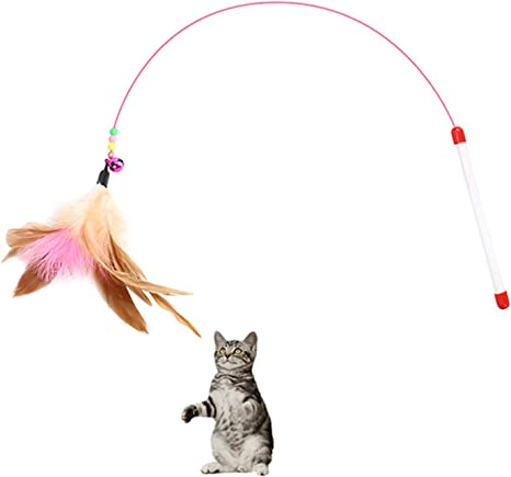 Amazon.com : Blnboimrun Pet Teaser Cat Toy Steel Wire Feather Interactive  Cat Stick Training,Kitten Wand Toys with Beads Bells (2 Pack) : Pet Supplies