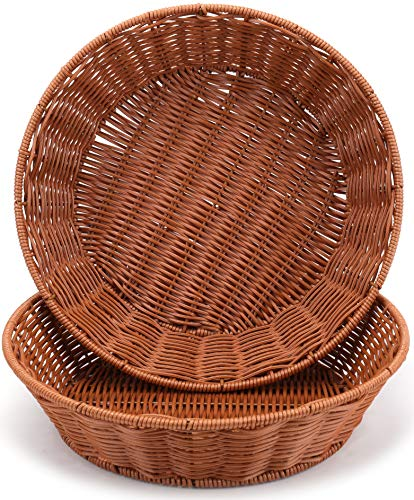WUWEOT 2 Pack Bread Basket for Serving Set, 12 Inch Round Imitation Rattan Fruit Basket, Woven Stackable Tabletop Food Vegetables Serving Basket, Brown