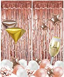 40 Pack Rose Gold Party Decorations, 12 inch Latex Balloons, Foil Fringe Curtains, Champagne Glass, Star, Diamond Large Foil Balloons Party Photo Booth Props for Birthday, Engagement, Bridal Shower