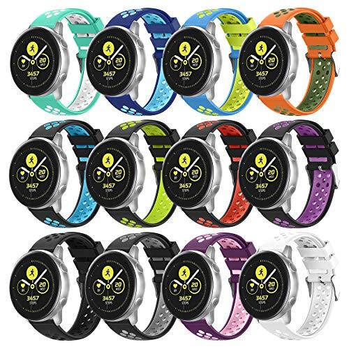 Reemplazo compatible para Samsung Galaxy Watch Active 2 bandas de reloj de 40 mm/44 mm, 20 mm, correa de reloj de silicona transpirable para Galaxy Watch 42 mm Bandas/Gear S2/Gear Sport,12 piezas