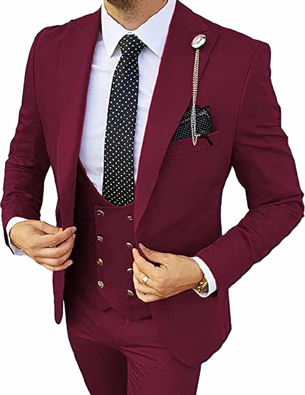 Men's Formal Suit Regular Fit 3 Piece Solid Prom Tuxedos Business Suits Set(Blazer+Vest+Pants)