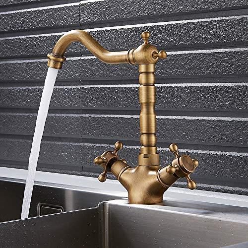 Miscelatore Rubinetto Cucina o Bagno Ottone Antico Classico Rotazione 360° con Doppio Manopole Flessibili Acqua Calda e Fredda