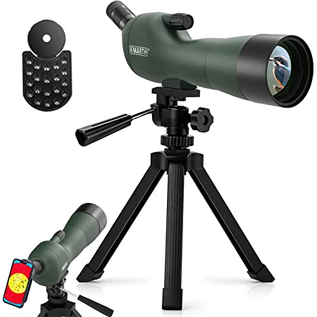 Emarth 20-60x60AE 45 Degree Angled Spotting Scope with Tripod, Phone Adapter, Carry Bag, Scope for Target Shooting Bird Watching Hunting Wildlife