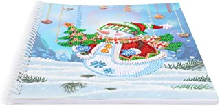 Notebook with Diamond Painting Cover Diary Book DIY Journal Book, DIY Christmas Snowman Special Shaped Diamond Painting 50 Pages A4 Notebook