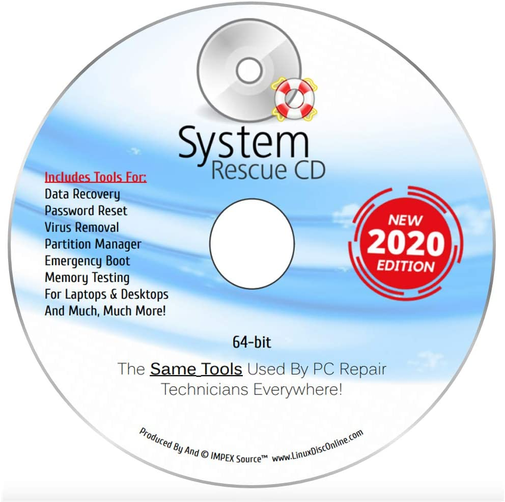 System Rescue CD Recovery Max 85% OFF Disk for 7 Popular product 10 8.1 Win Vi 8