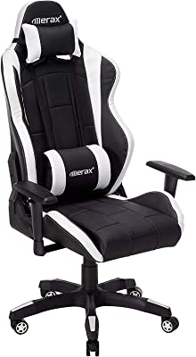 PU Leather Racing Style Video Gaming Chair High Back Home Office Adjustable Desk Chair (White