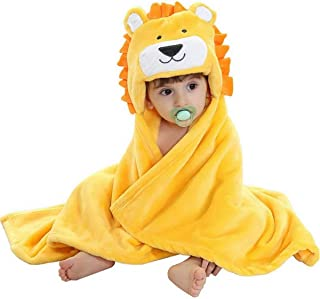 Vauwmsr Baby Hooded Blanket Animal Face Newborn Baby Hooded Bath Towel Soft Warm Coral Fleece Infant Toddler Swaddle Blanket