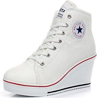 Mujer Cuñas Zapatos De Lona High-Top Zapatos Casuales Encaje Hebilla Cremallera Lateral Tacón Cuña 8CM