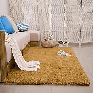 柔らかいふわふわの敷物、厚い豪華なカーペット、滑り止めの寝室の床マット-Khaki_80cmX160cm、長髪ののどの毛皮の模造ウールソファ寝室の敷物マット
