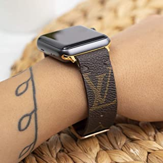 Handmade Apple Watch Band Re-Purposed Classic Brown Monogram for Apple Watch Series 1, 2, 3, 4, 5