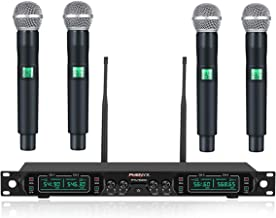 Wireless Microphone System, Phenyx Pro 4-Channel UHF Cordless Mic Set With Four Handheld..