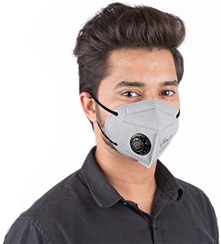 Grin Health N95 Anti Pollution Mask with Valve Activated Carbon 5 Layer Protective Filters Pack of 1 Grey