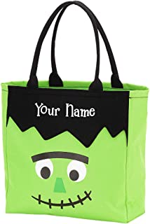 Personalized Monster Halloween Trick or Treat Candy Basket Reusable Tote Sack Bag - 12in x 12in x 5in
