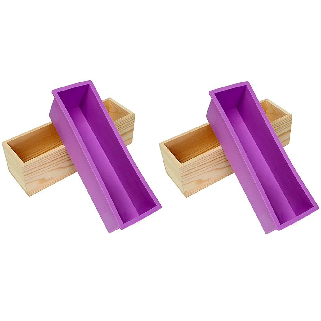 Ogrmar Flexible Rectangular Soap Silicone Mold with Wood Box DIY Tool for Soap Cake Making 42oz (Purple-2PCS)