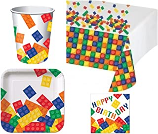 BirthdayExpress Building Blocks Deluxe Party Pack Kit for 16