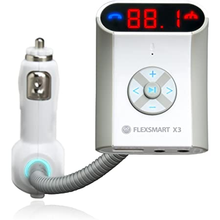 GOgroove FlexSMART X3 Bluetooth FM Transmitter Car Kit with Hands-Free Calling, Audio Playback and USB Charging - Compatible with Android, MP3 Players and More Bluetooth Devices