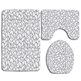 JOOCAR 3PCS/Set Bathroon Non Slip Pedestal Rug+Lid Toilet Cover+Bath Mat, Sea Waves Abstract Swirl Stream Stormy Weather River Decorating Soft and Beautiful Home Decor Bath Rug