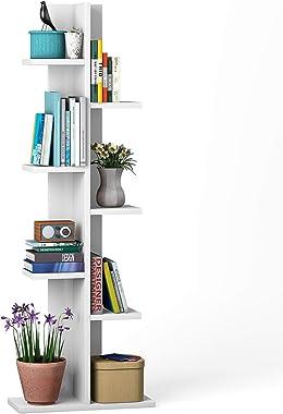 Giantex 7-Tier Bookshelf, Multipurpose Storage Shelf Space-Saving Bookcase Wood Display Shelf Stand for Books Photos Artwork,