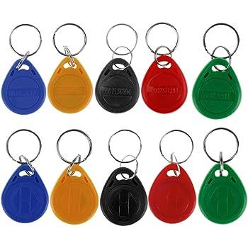 HFeng 10pcs tarjeta llave de proximidad 125kHz RFID de control de acceso tk4100 em4100 Llaveros Llaveros Smart ID tarjeta llave para Puerta cerradura electrica sistema NFC token tag (Mix color)