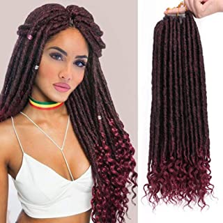 AISI BEAUTY Goddess Locs Crochet Hair Pre-Looped Faux Locs Crochet Hair with Curly Ends Synthetic Black Mixed Burgundy Hair Extension for Black Women Braiding 6packs/Lot 24 Roots(1B/Bug,20inch)