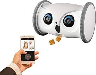 SKYMEE Owl Robot: Movable Full HD Pet Camera with Treat Dispenser, Interactive Toy for Dogs and Cats, Mobile Control via App