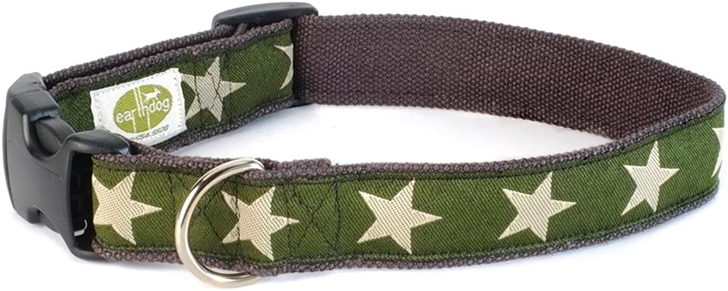 Earthdog Adjustable Hemp Dog Collar in Star Pattern (Green, Medium)