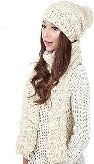 D&P Women Girls Winter Warm Fashion Knitted Hat Beanie Scarf Set