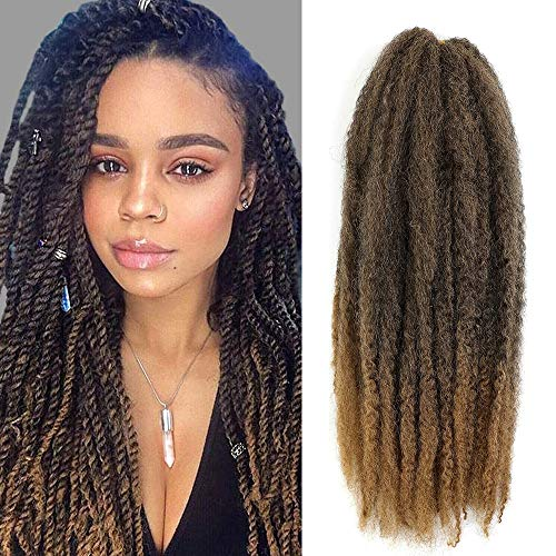 6 Packs Marley Twist Hair 24 inch Afro Kinky Curly Marley Braids Hair Extension For Twists Synthetic Fiber Marley Braiding Hair For Havana Twist or Faux Locs (T1B/27#)