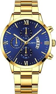 Sodoop Alloy Quartz Wristwatch,Classic Men's Business tainless Belt Steel Wrist Watch Analog Date with Three Eyes Six-Piece Calendar Chronograph Watches