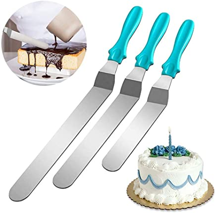 Icing Spatulas, Foonee 3Pcs Stainless Steel Angled Icing Spatulas Offset Cake Frosting Spatula Set for Baking Cake Decorating Supplies