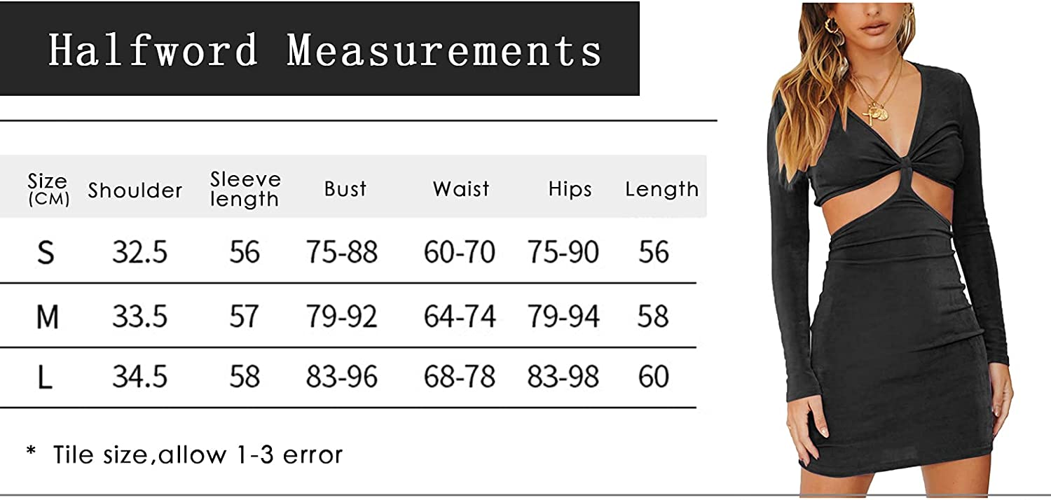 Women's Long Sleeve Y2K Mini Dress Solid Sexy V Neck Backless Knot Hollow Out Short Party Dresses