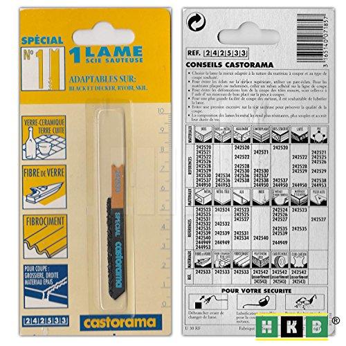 HKB ® 1 Stichsägenblatt No 1, 40mm, schneidet Keramik, Glasfaser, Faserzement, Aufnahme für Black&Decker, Rybol, Skil, Hersteller Castorama, Artikel-Nr. 242533