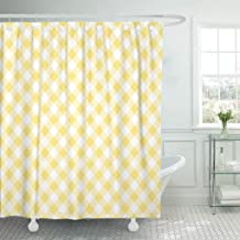 Emvency Shower Curtain White Checkered Yellow Gingham Pattern Harlequin Shower Curtains Sets with Hooks 72 x 72 Inches Waterproof Polyester Fabric