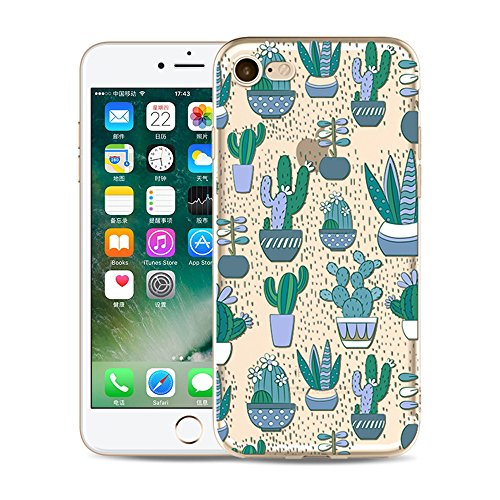 iPhone SE Hülle Silikon, iPhone 5S HandyHülle Durchsichtig Slim Tropisch Kaktus Gel TPU Schutzhülle für iPhone 5S/iPhone 5/iPhone SE Transparent Dünn Kreativ Gummi Back Cover Sommer Grün Succulents