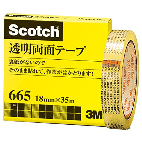 3M スコッチ 透明両面テープ 18mm×35m ライナーなし 紙箱入り 665-3-18