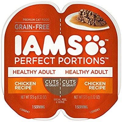 IAMS PERFECT PORTIONS Adult Grain Free Wet Cat Food Cuts in Gravy Chicken Recipe, (24) 2.6 oz. Easy Peel Twin-Pack Trays