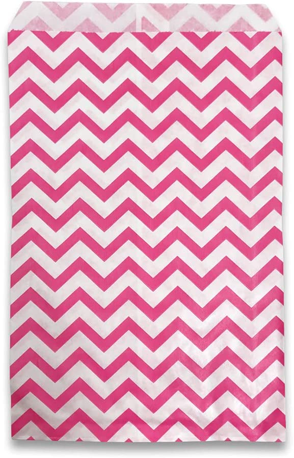 """50 pcs of 5"""" Charlotte Mall San Diego Mall x 7"""" Chevron-Pink Paper Bags Gift –"""