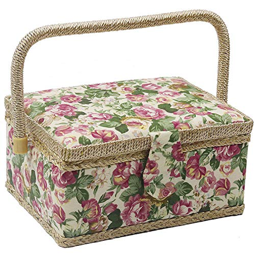 Medium Sewing Basket with Accessories,Wooden Sewing Organizer Box for Sewing Supplies and DIY Crafting Tools Storage,Sewing Kit Tools for Sewing Mending (Rose flower)