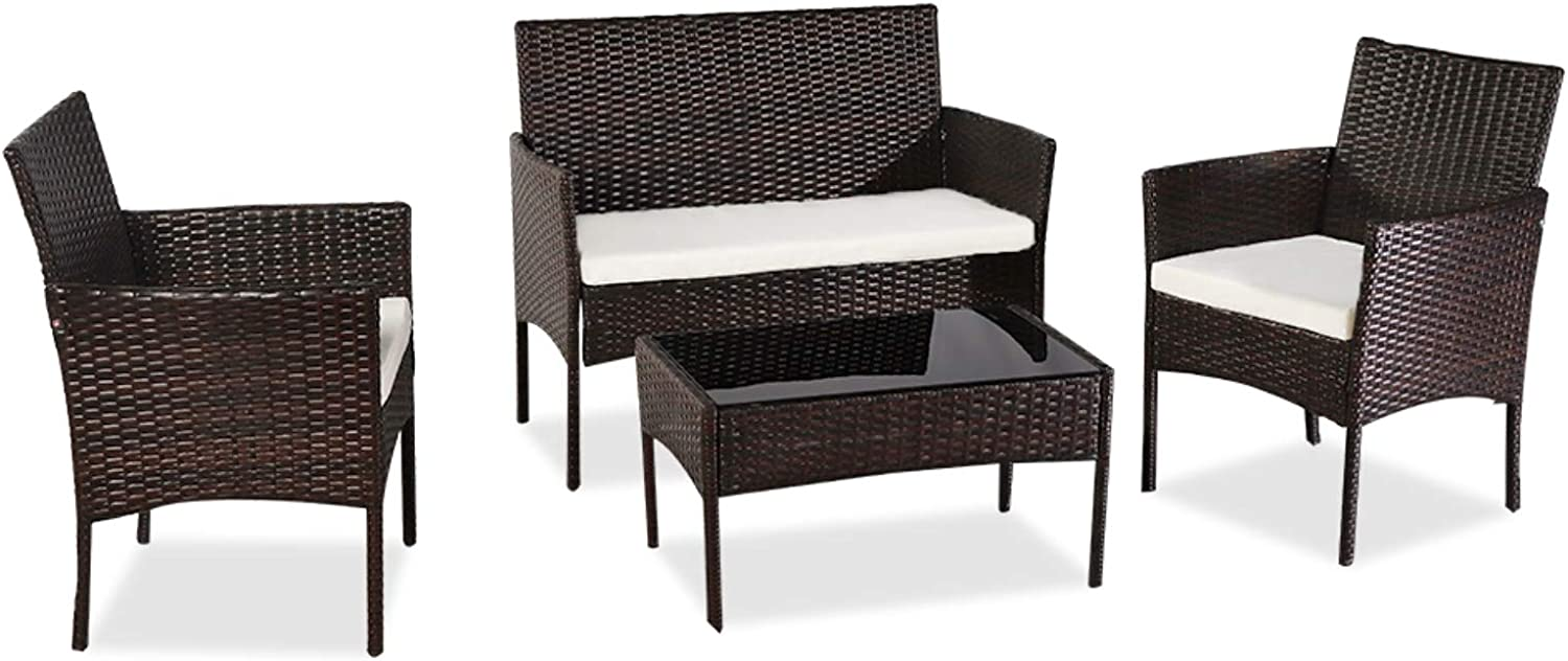 Outdoor Living Room Balcony New product! New type Four-Piece-Brown Furniture service Rattan So