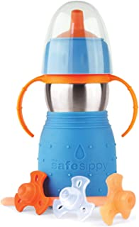 Kid Basix by New Wave Safe Sippy 2-Baby & Toddler Stainless Steel 2-in-1 Cup with..