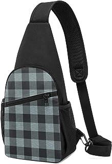 Bolsa de hombro con textura de búfalo, color azul y negro, ligera mochila para el pecho, bolsa cruzada para viajes, sender...