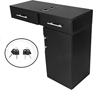 OrangeA Styling Station Sublight Black Beauty Salon Station Hair Salon Cabinet Shampoo Station with Large Pull Out Drawers and Cabinets (Black)