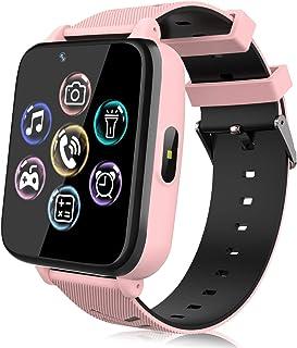 Smartwatch voor kinderen, horloge telefoon voor meisjes jongens touchscreen met muziekspeler, spel, camera, zaklampen, wek...