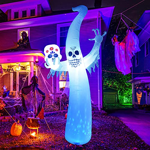 GOOSH 12 FT Height Halloween Inflatables Outdoor Ghost with Magic Rotating Light, Blow Up Yard Decoration Clearance with…