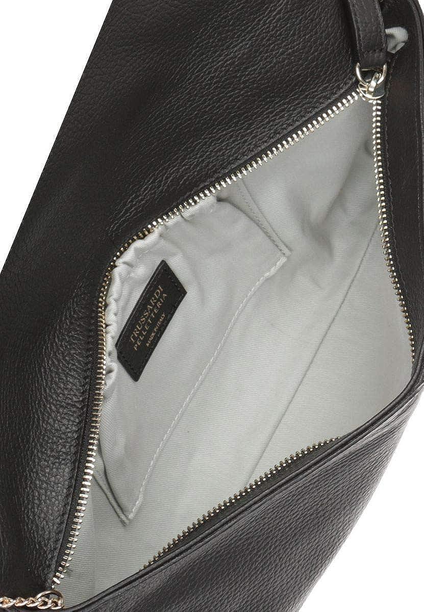 Trussardi Borsetta a Mano da Donna 34x16x6 cm Pochette con catena metallica per trasporto su spalla in vera pelle Saffiano 100/% Vitello