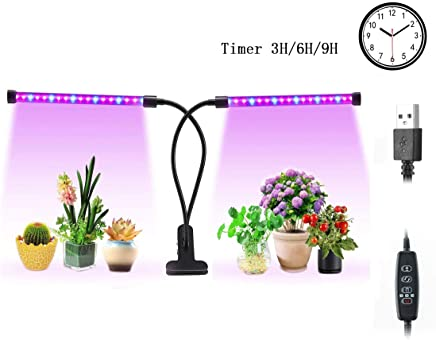 LED Grow Light,SS SHOVAN 18W Grow Lamp Automatic on//Off,2Working Modes,3Kinds of Lighting Mode,5Kinds of Brightness,36 Chips with Red//Blue Spectrum,360 Degree Adjustable Flexible and Gift Accessories