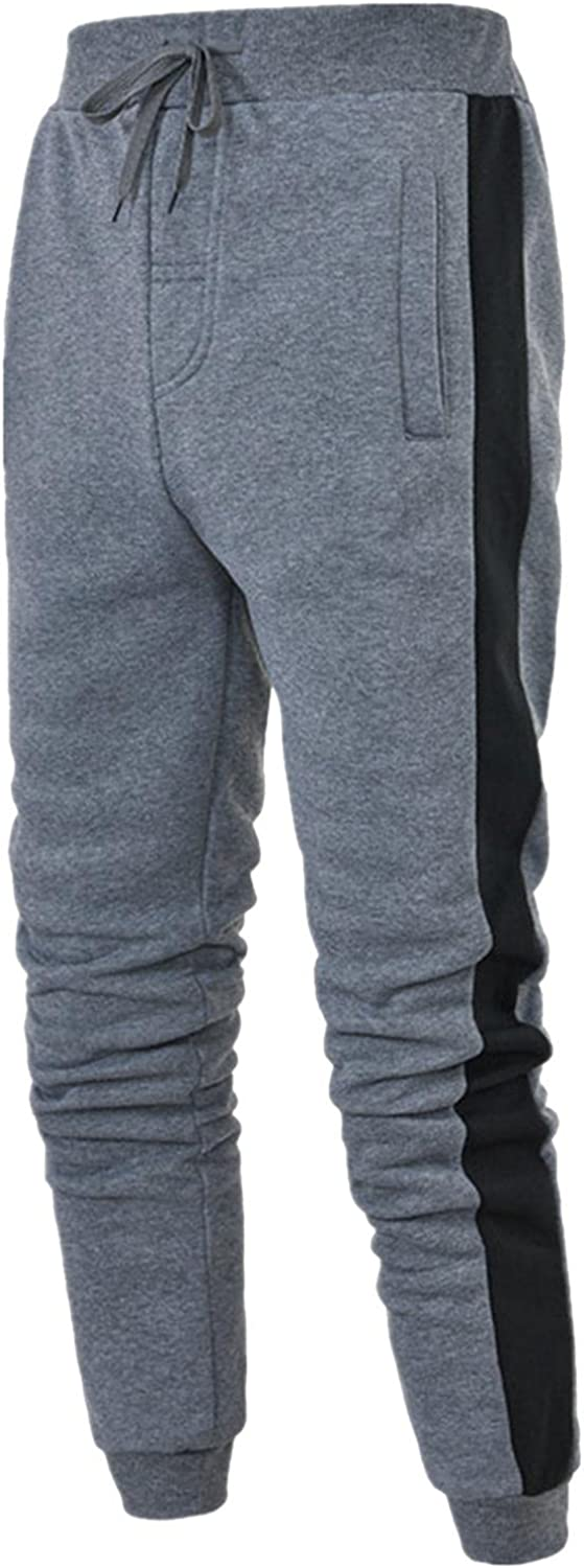 NREALY Mens Sweatpants Drawstring Patchwork Joggers Casual Pants Loose Trousers