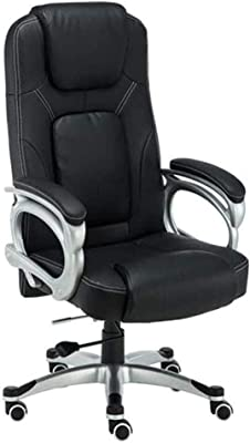 Office Chair Ergonomic Computer Chair with Arms Lumbar Support Headrest Task Adjustable Swivel High Back (Color : Black)