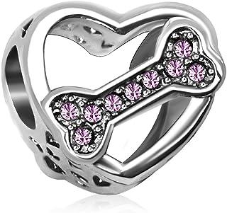 KunBead Dog Bone Heart Love Crystal Simulated Birthstone Birthday Charms for Bracelets Christmas Mother's Day Charm Beads ...